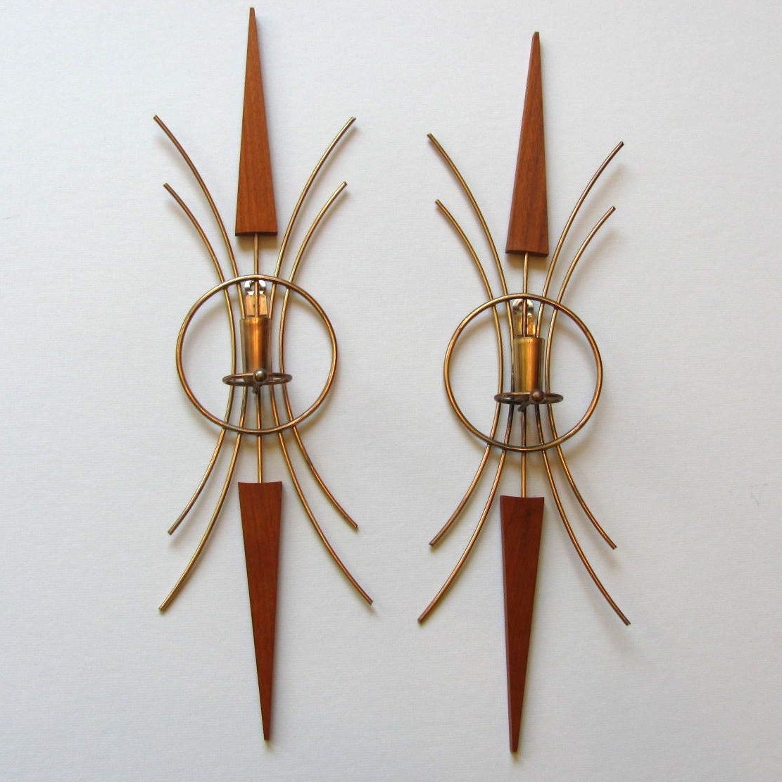 Vintage Danish Modern Wall Candle Sconces by DodadChick on Etsy