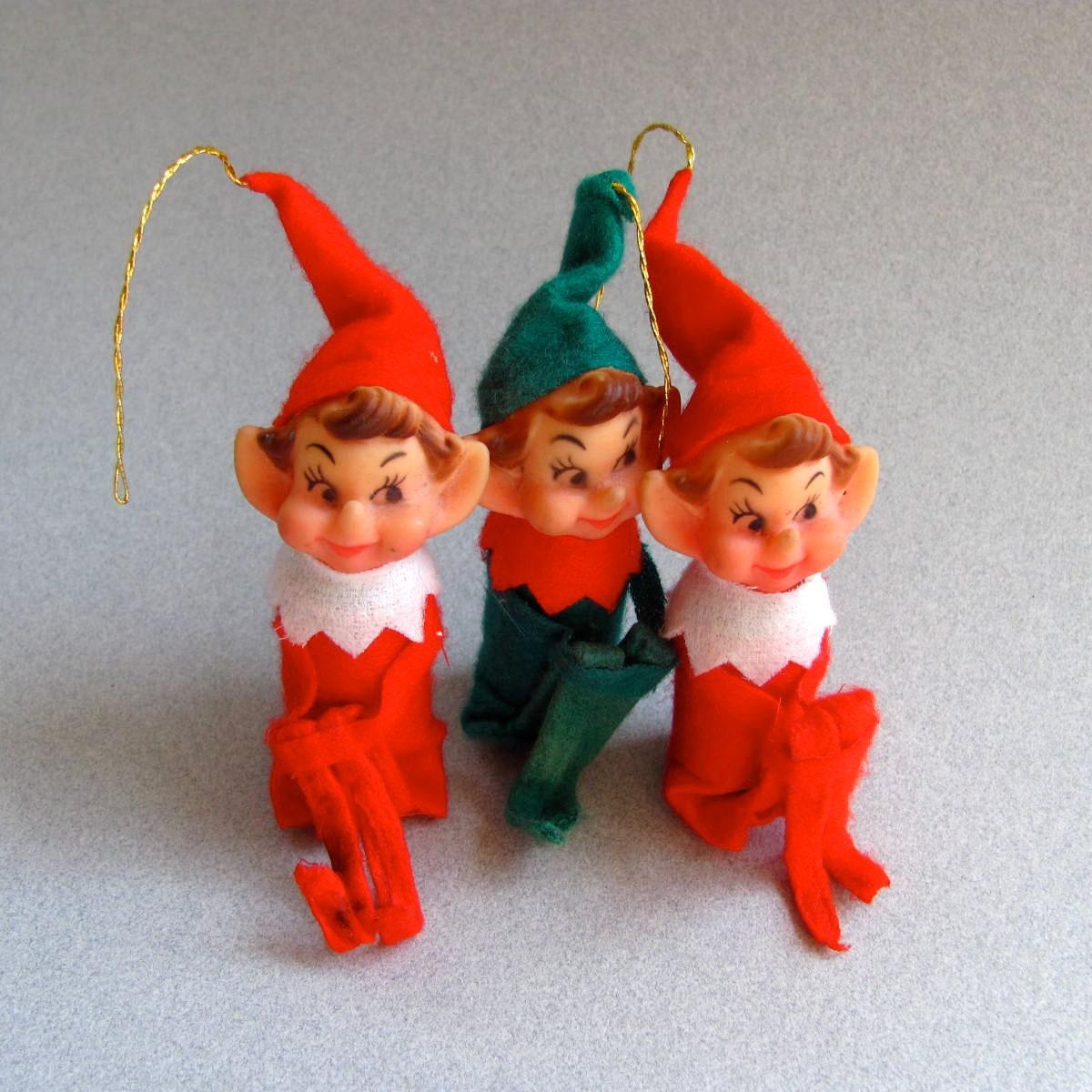 Set Of Three Elf Christmas Tree Ornaments Elves Pixies