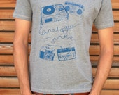 analogue junkie Tee (men's blue on gray) hand printed t-shirt
