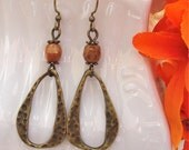 Boho Chic Brass Textured Earrings Vintage Style