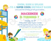 Waterpark Birthday - Digital Invitation - Print Option Available