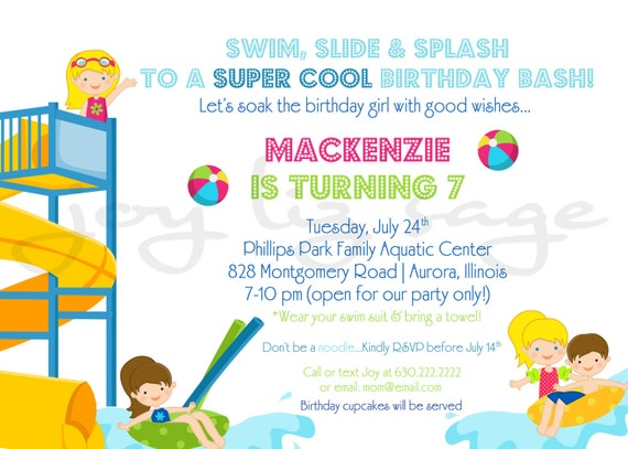 Waterpark Birthday Digital Invitation Print Option – Water Park Party Invitations