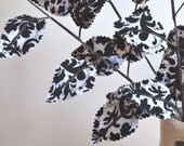 Fabric Leaves - Black and White Damask Branches (set of 3)