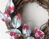 Fabric Leaf Wreath - Winter Poinsettias Christmas Door Decor