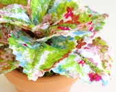 Fabric Leaf Potted Plant - Lime Green Aqua Blue Raspberry Pink Flowers