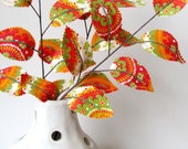 Fabric Leaves- Tangerine Tango Branches (set of 3)