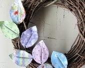 Fabric Leaf Wreath - Easter Egg Pastel Polka Dot Spring Door Decoration