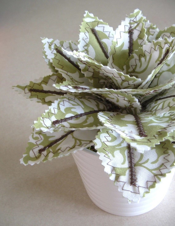 Fabric Leaf Potted Plant Green Damask