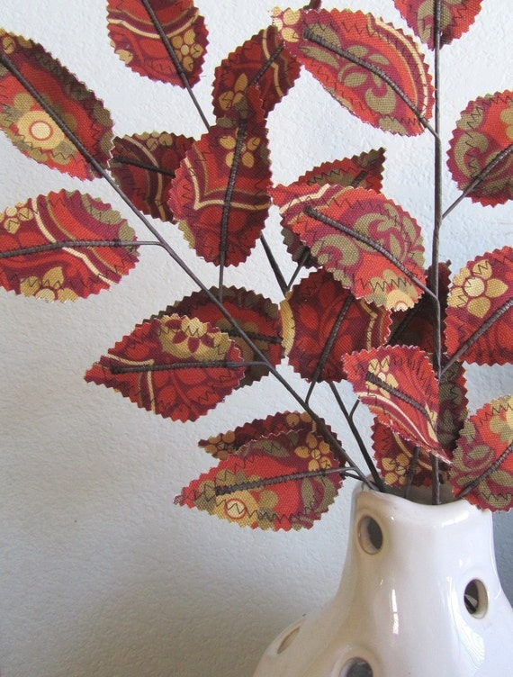 Custom Fabric Leaves - Rust Red, Cranberry, Gold Branches (Reserved for jessicalivermanwimer)