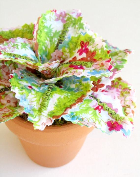 Fabric Leaf Potted Plant - Lime Green Aqua Blue Raspberry Pink Flowers