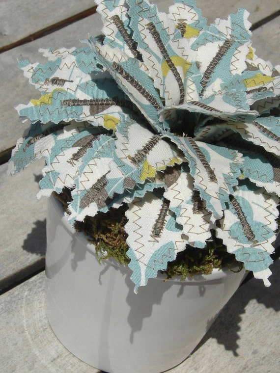 Sweet Little Fabric Potted Plant - Restful Blue