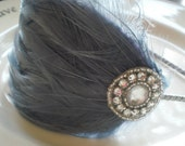 sweetie. grey feather headband