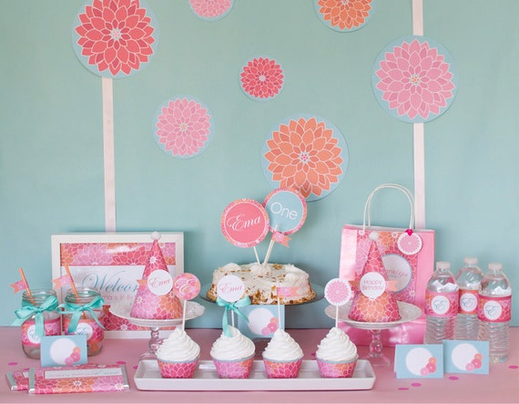 Spring Dahlia Flower Printable DIY Party Package by MayDetails: Full Collection