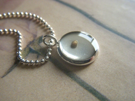 faith as small as a mustard seed...resin mustard seed pendant with silver ball chain