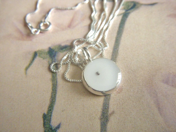 seed of faith necklace - round silver resin poppy seed pendant  with sterling silver box chain necklace