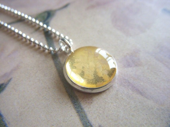 salt and light silver resin pendant with silver ball chain necklace