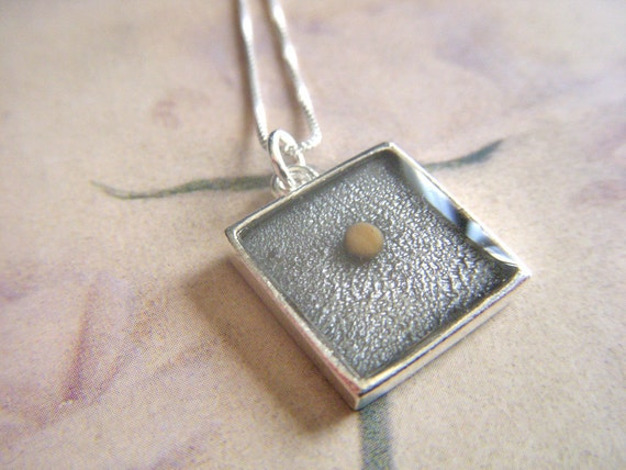 faith as small as a mustard seed square resin pendant with sterling silver box chain necklace