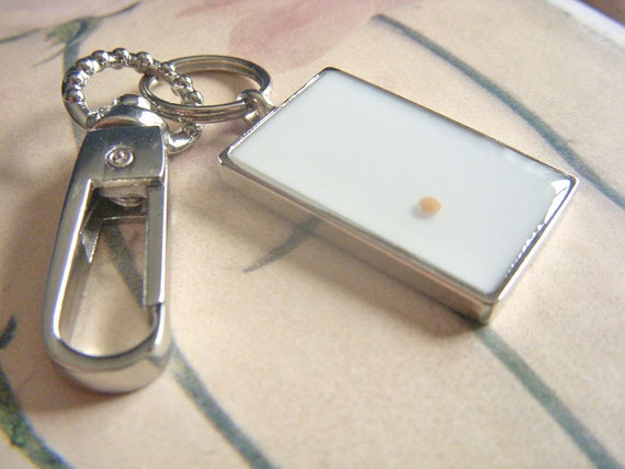 faith as small as a mustard seed - decorative rectangle white resin mustard seed keychain