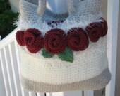 A Dozen Red Roses, Hand Crochet Bag,fully lined, SHIPS immediately,