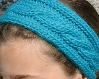 Simply Scruptious Cable knit Headwarmer/Wrap with Tassle Ties, Knitting Pattern pdf