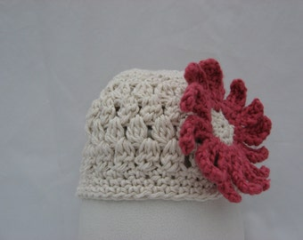 Openweave Puff Stitch Beanie Crochet Pattern Pdf, with Two Flower Blossom Patterns included to choose from