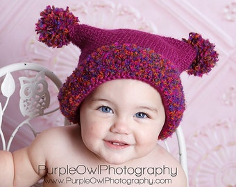 Double Pom Pom Hat Crochet Pattern pdf ,easy to make,5 sizes newborn to adult