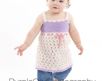 Sweet Summer Sundress and Matching Hat crochet pattern pdf 6 sizes included  newborn-child