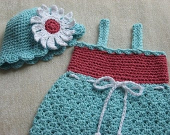 Sweet Summer Sundress and Matching Hat crochet pattern pdf 6 sizes included newborn - child