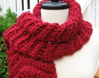 Ripple Scarf with Rosette Blossom, Crochet Pattern pdf, Instant Pattern Download Available