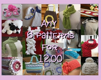 Any 6 Crochet Patterns for 12.00, All patterns included