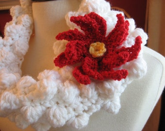 Mid Winters Dream Cowl Crochet Pattern with Bonus Poinsetta Flower Pattern included, Instant Pattern Download Available