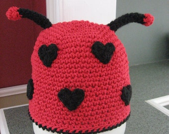 Valentines Day, Lil Love Bug, Lady Bug Hat Crochet Pattern pdf ,all sizes included, newborn- adult, Instant Pattern Download Available
