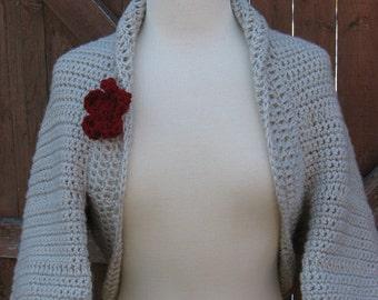 Simple to Make Elegant Shrug, Flower Blossom pattern included, Crochet Pattern  pdf