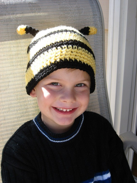 Busy Little Bee Bumble Bee Crochet Hat Pattern pdf  5 sizes included