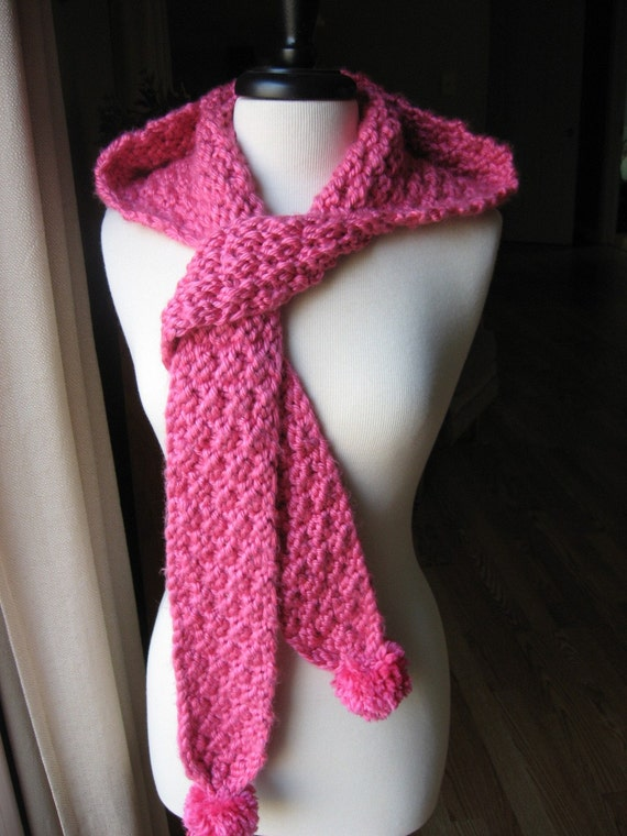 Knitting Pattern, Hometown Hooded Pom Pom Scarf, pdf pattern