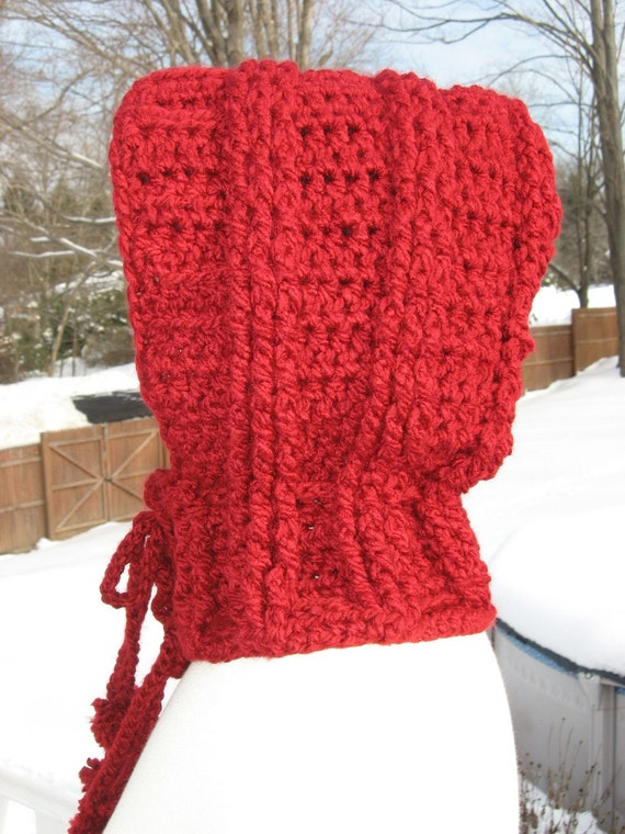 Drawstring Cowl Knitting Pattern : Hooded Ribbed Cowl with drawstring ties/ pom poms, Crochet Pattern Pdf, Insta...