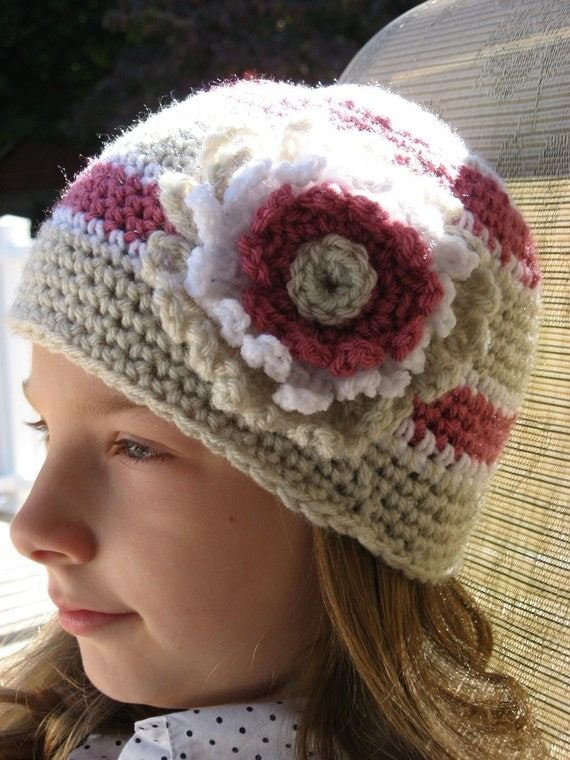 Botanical Stripe Classic Style Crochet Hat with Large flower Blossom 5 sizes newborn - adult Pattern pdf