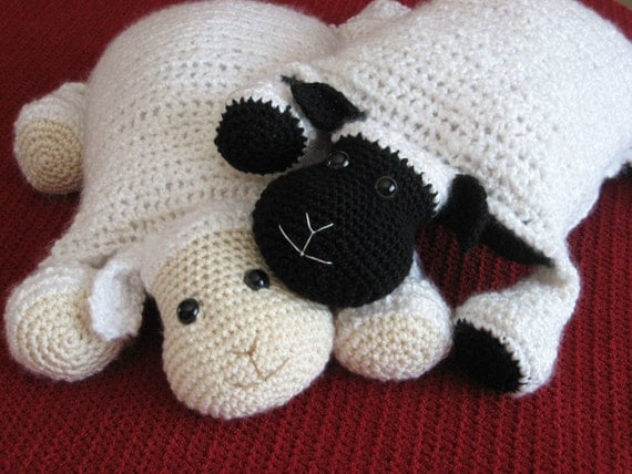 Crochet Lamb, Cute and Cuddley Crochet Critter Pillow, Crochet pattern pdf