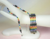 Magnetic Hematite Wrap Jewelry, Primary Rainbow Swarovski Crystals