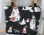 Snowman Holiday Bag in Black