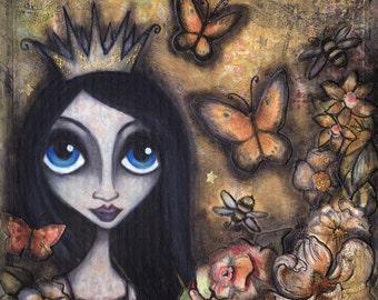 The Dark Princess - Original OOAK Mixed Media Illustration framed in shadow box
