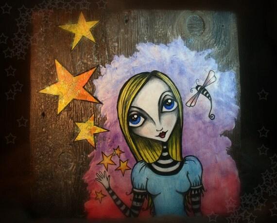 Alice Waves Goodbye - Original Mixed Media Piece on Wood
