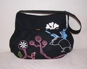 Pleated Hobo Bag in Gunilla Black/Multi Color-MEDIUM