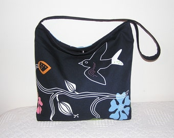 Slouch Hobo Tote Bag  in Gunilla Black/Multi