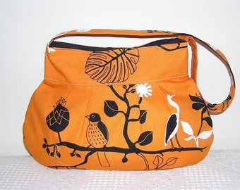 Pleated Hobo Bag in Gunilla Orange Birds-Large