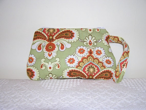 CLOSING SALE-Wristlet in Amy Butler French Wallpaper