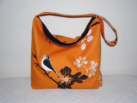Slouch Hobo in Gunilla Orange Birds and Branches