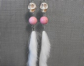Bubble Gum Pink Stones and Fur With Skulls Earrings