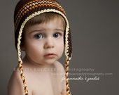 Baby Kids Earflap hat - Chocolate Brown, orange, cream, stripes,  2T-4T