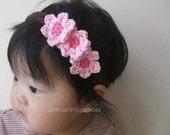 Cherry Blossom Headband, baby headband, flower headband, pink, chocolate brown